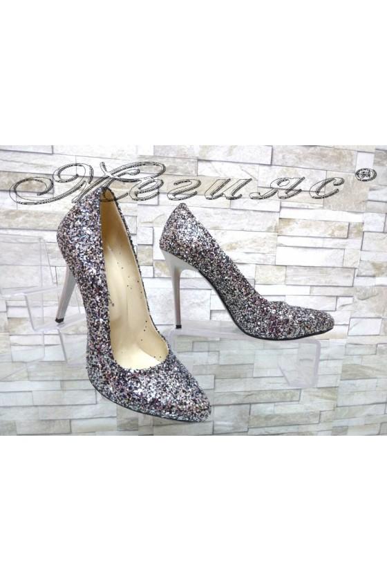 Дамски обувки 162 брокат графит елегантни на ток
