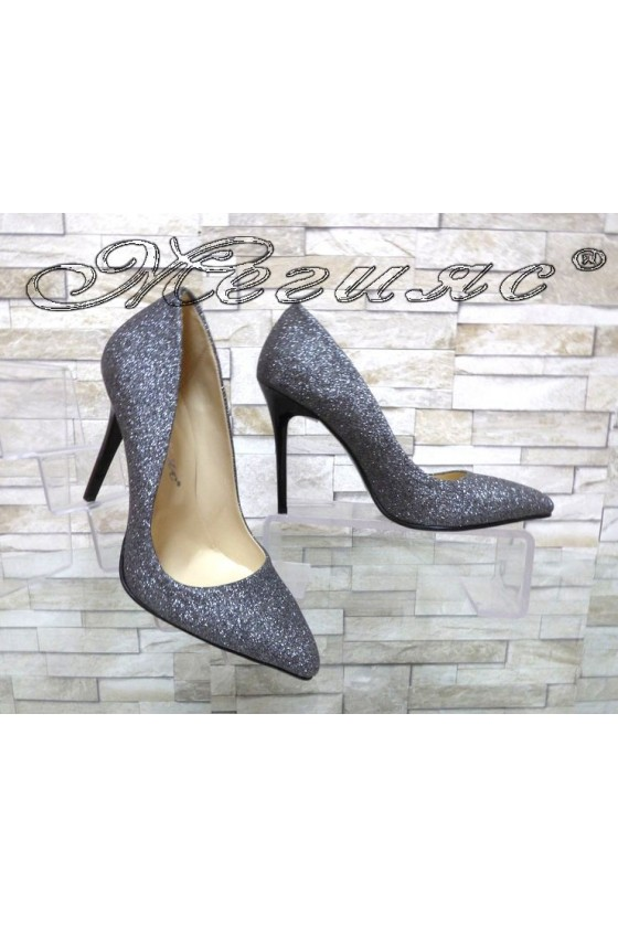 Lady elegant shoes 5596 grey with high heel