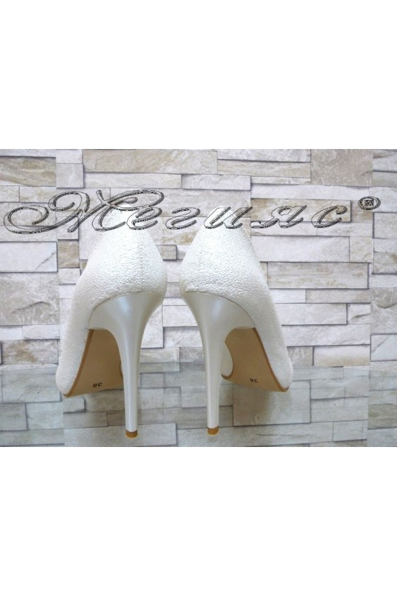 Lady elegant shoes 5596 white pu with high heel