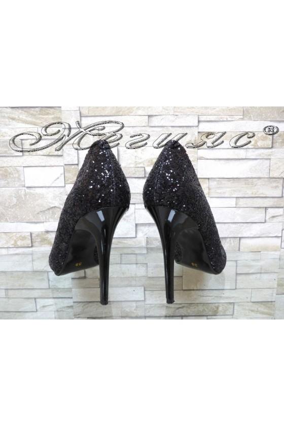 Lady elegant shoes 162 black pu with high heel