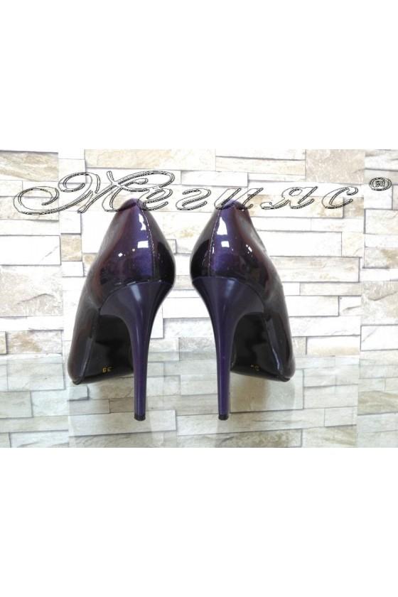 Дамски обувки 162 тъмно лилави перла елегантни на ток