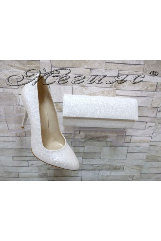 Lady elegant shoes 162 white with bag 373