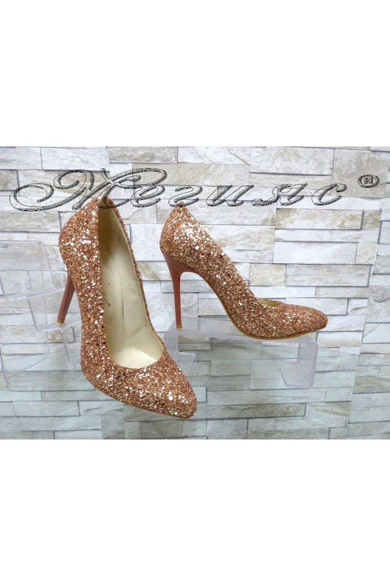 Дамски обувки 162 брокат пудра елегантни на ток