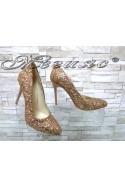 Дамски обувки 162 брокат бакър елегантни на ток