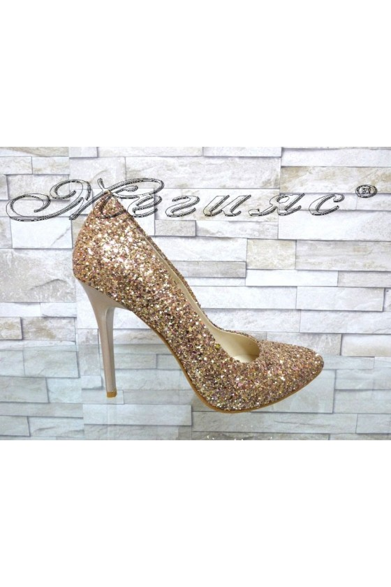 Lady elegant shoes 162 dk.gold pu with high heel