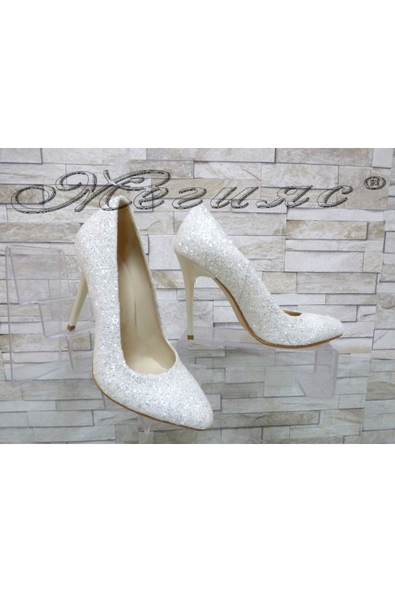 Lady elegant shoes 162 white pu with high heel
