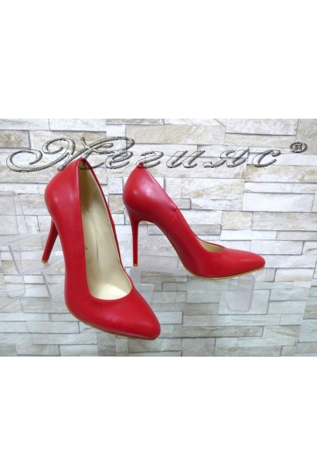 Дамски обувки 162 червени мат елегантни с висок ток