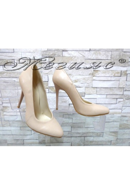 Дамски обувки 162 бежови мат елегантни на висок ток
