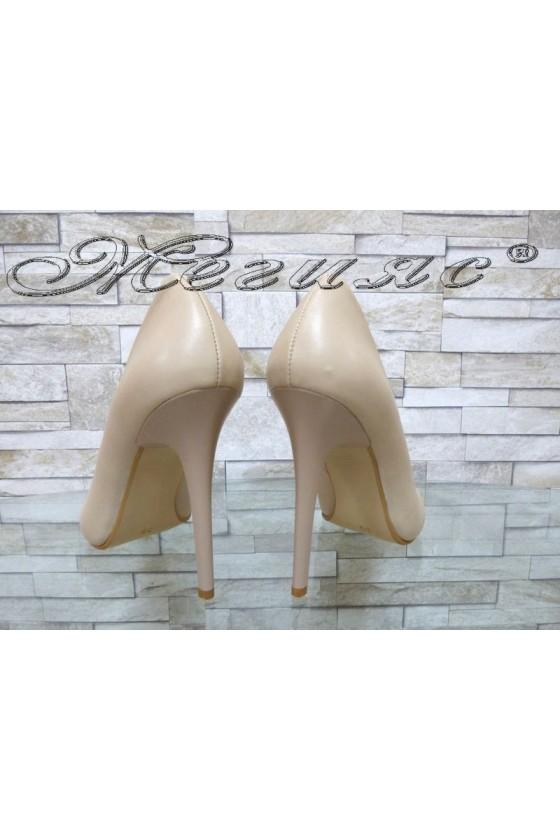 Lady elegant shoes beige pu with high heel