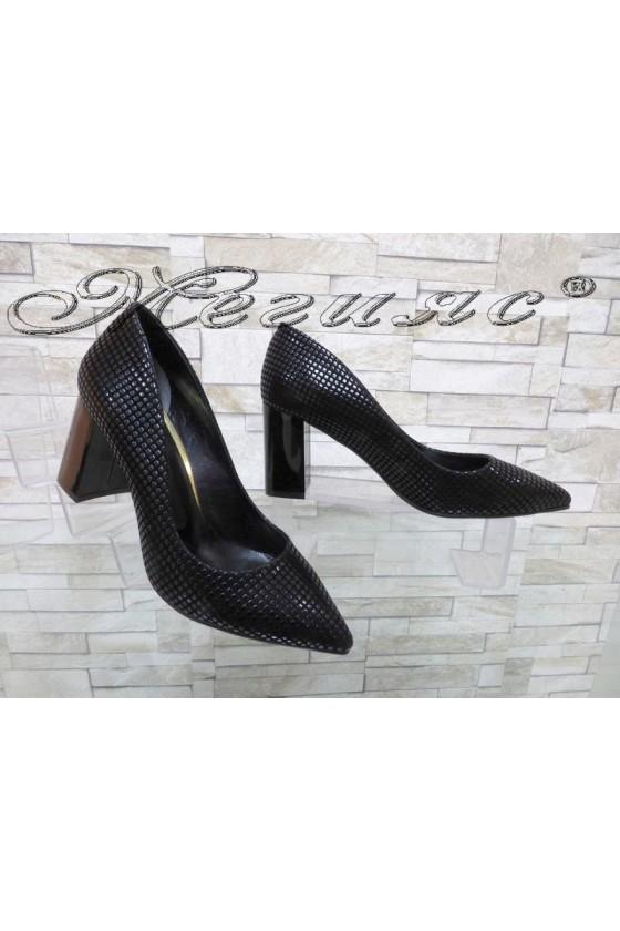 Women's shoes 1120 black suede relef elegant