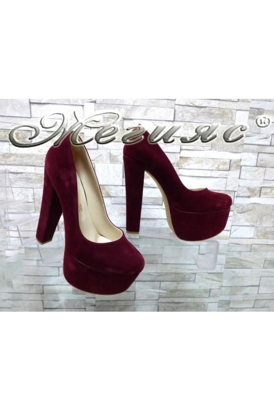 Дамски елегантни обувки 2096 бордо набук на висок ток