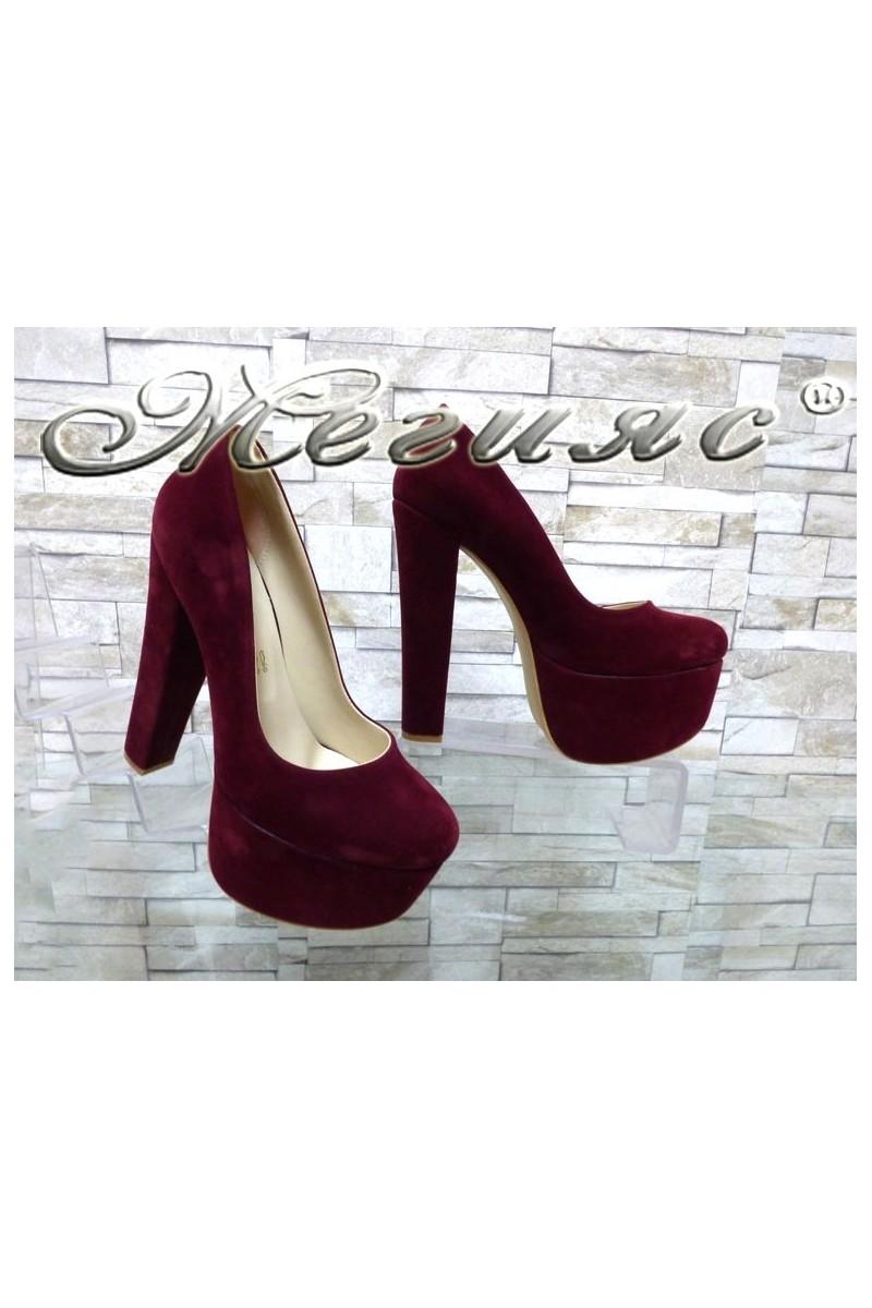 Lady elegant shoes 2096 bordo nabuk with high heel