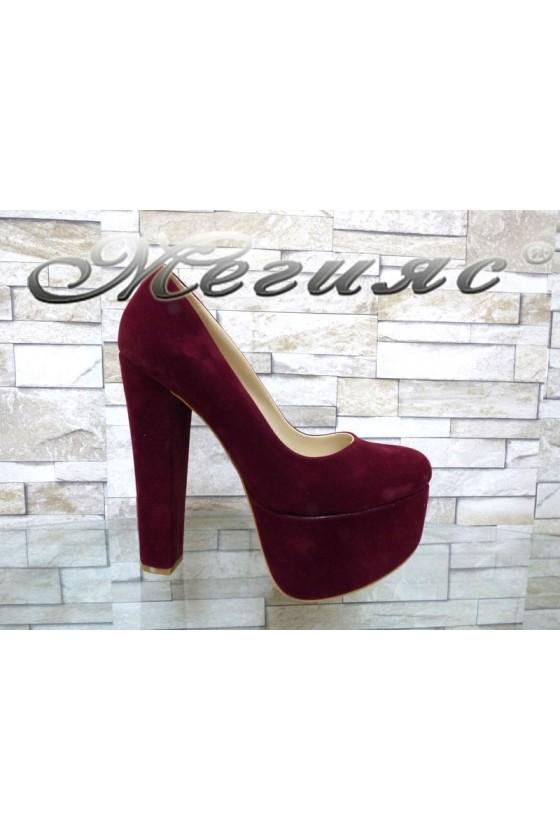 Дамски елегантни обувки 2096 бордо набук на висок ток и платформа