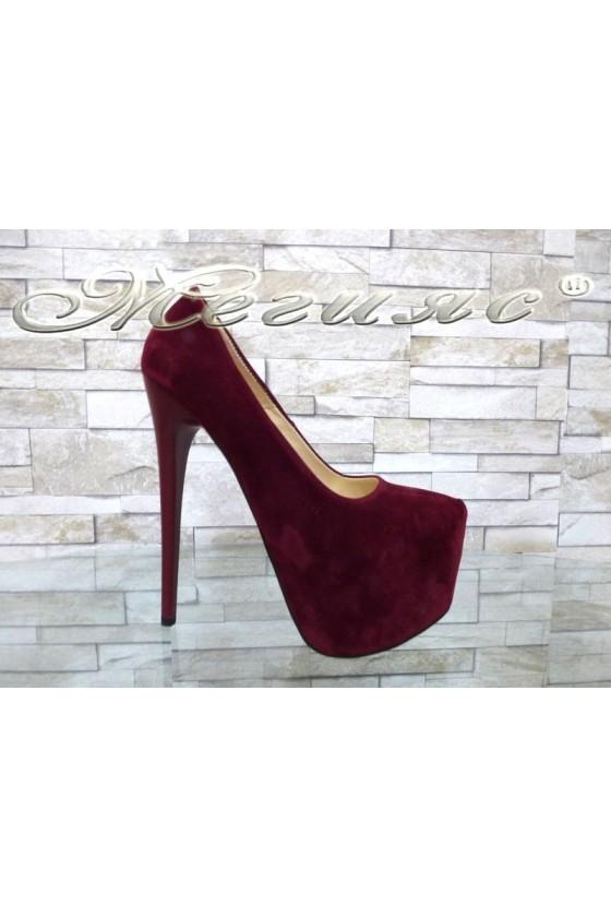 Lady elegant shoes 11 bordo nabuk with high heel