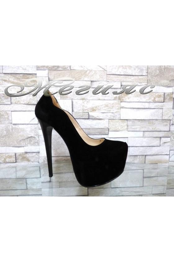 Lady elegant shoes 12 black nabuk with high heel