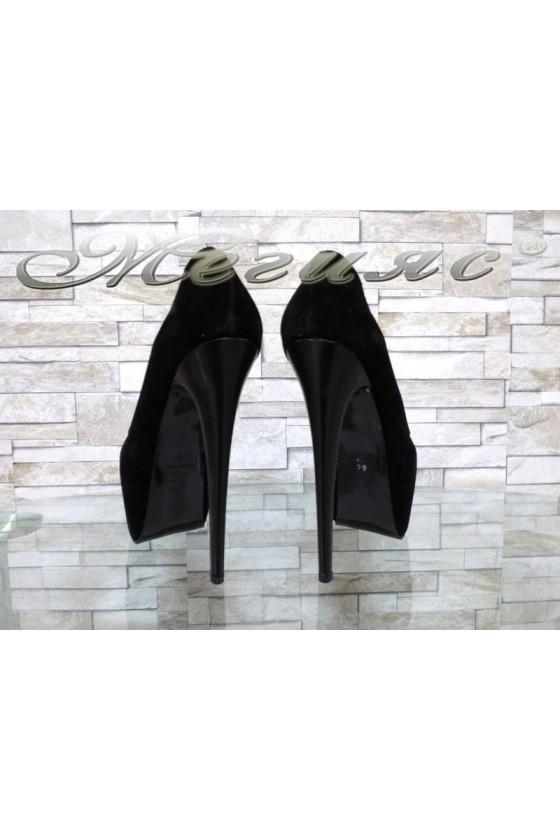 Дамски елегантни обувки 12 черни набук на висок ток и платформа
