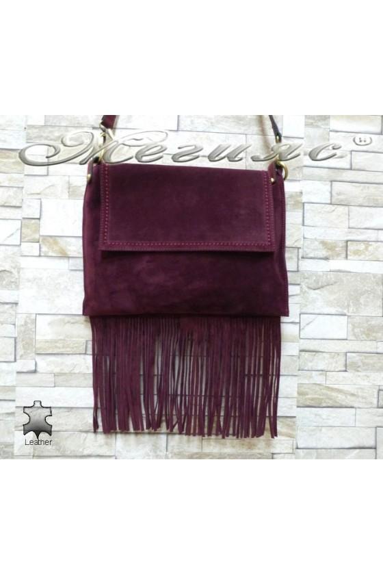 Дамска чанта 4800 бордо с ресни от естествен велур