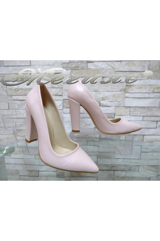 Дамски обувки 702 пудра мат от еко кожа остри елегантни с широк ток