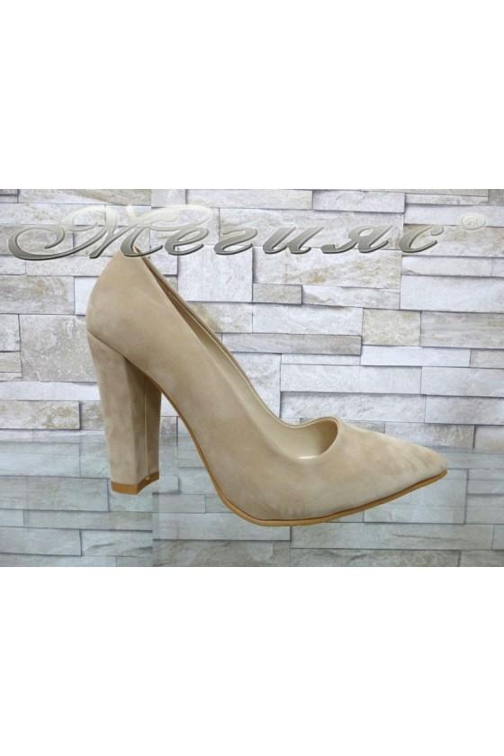 Women elegant shoes 702 beige suede with high heel