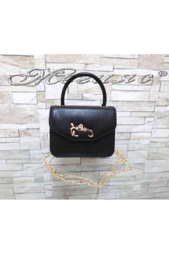Абитуриентска чанта 102 черна с цветя еко кожа