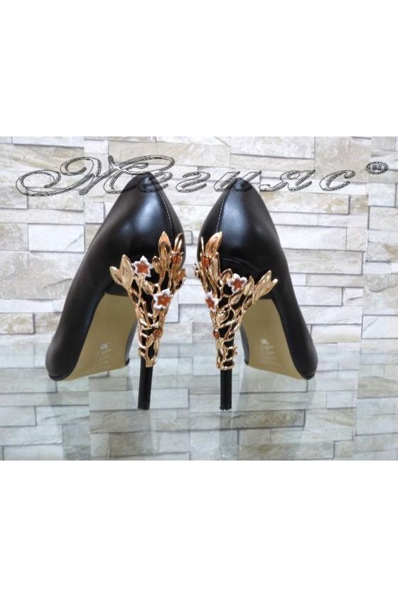 Lady elegant shoes 102-k black pu with high heel