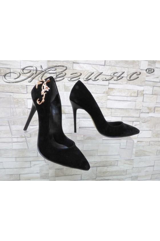 Дамски обувки 102-К черни набук елегантни остри на висок ток