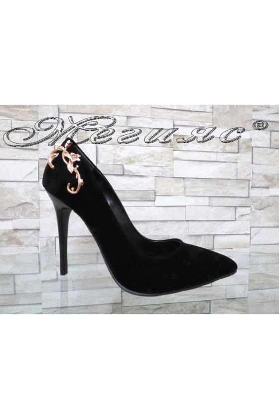 Lady elegant shoes 103-k black suede with high heel
