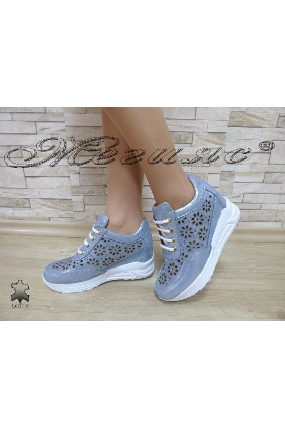 Lady sport shoes A-3-104 blue leather