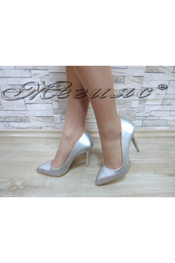 Lady elegant shoes 5596 silver pearl with high heel