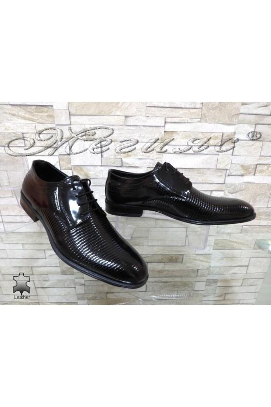 Мъжки обувки АТО 2098 черни естествен лак