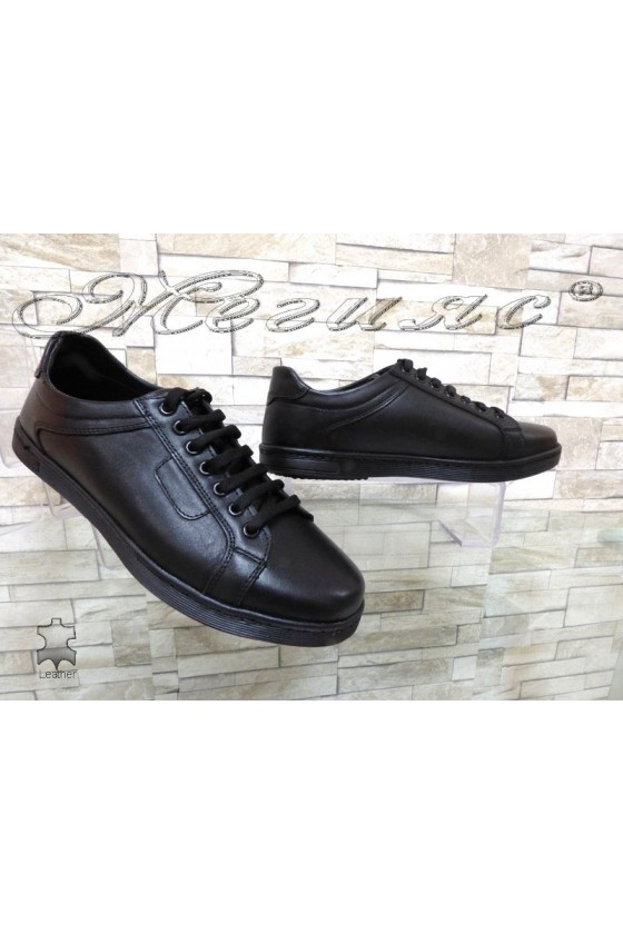Мъжки обувки ATO 250 спортни черни естествена кожа