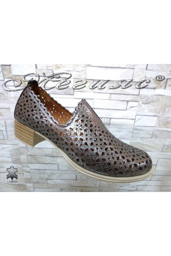 Lady shoes 184-5 dark silver leather