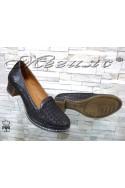 Дамски обувки 320-95 графит от естествена кожа с широк ток