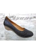 Дамски обувки 322-02 черни от естествена кожа с платформа