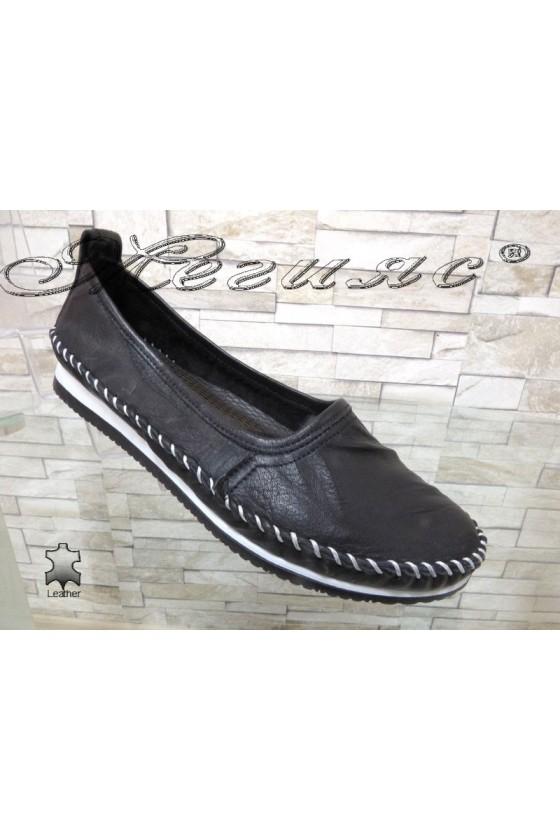 Дамски обувки CAN 69 черни от естествена кожа тип мокасини