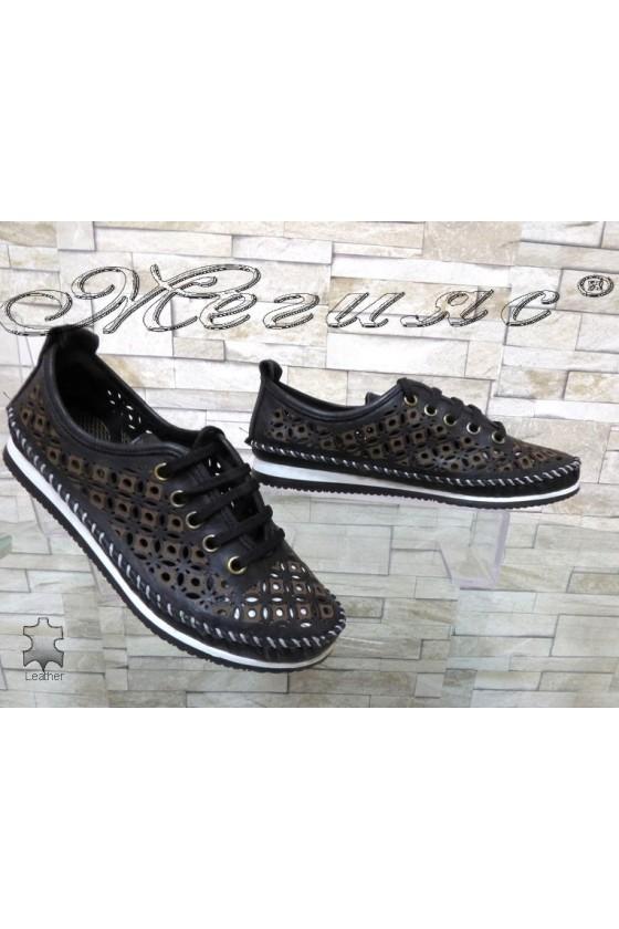 Дамски обувки 66 CAN черни ежедневни естествена кожа