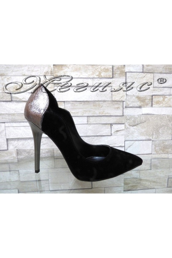 Lady elegant shoes 1883 black suede with high heel
