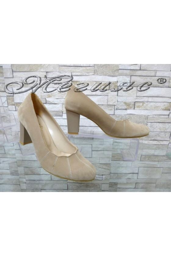 Women elegant shoes 155 beige suede with middle heel