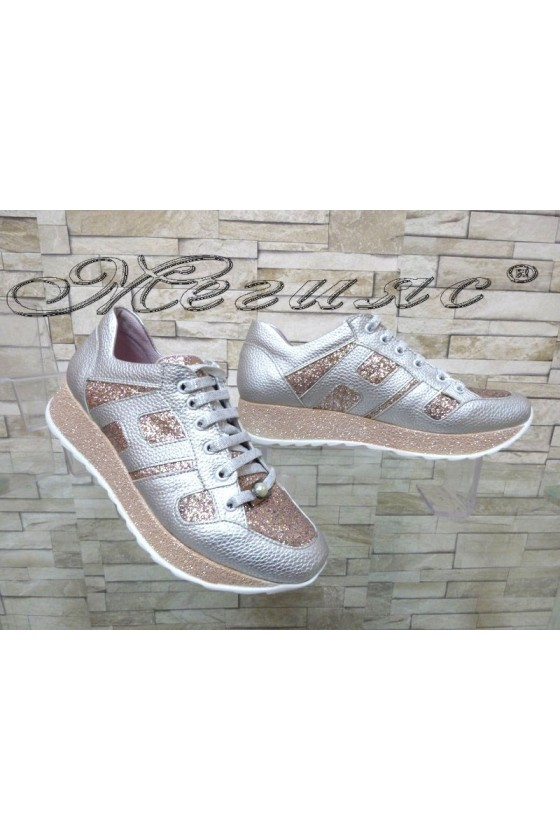 Lady sport shoes 388-3113 silver pu