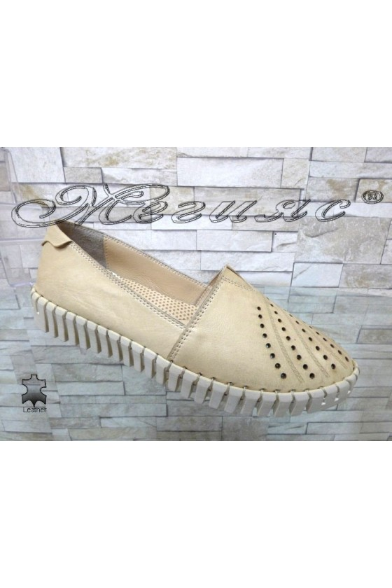Ladies shoes 705 beige leather