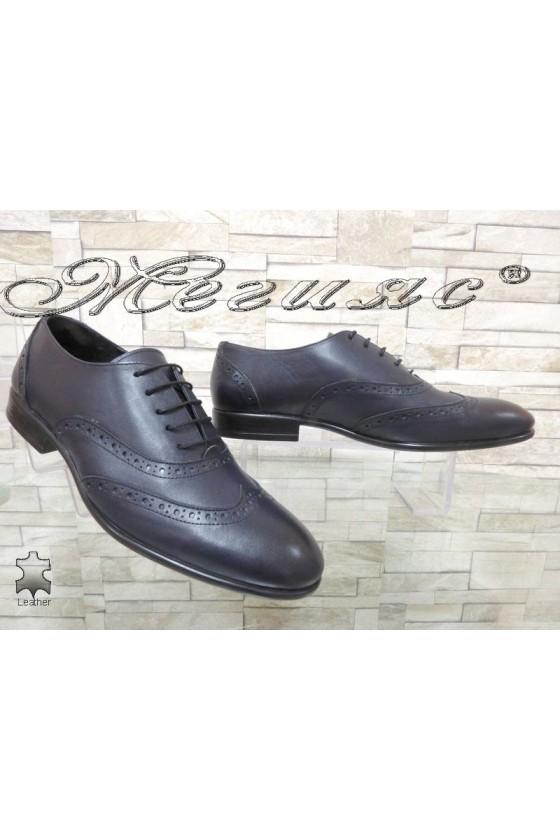 Мъжки обувки SHARP 854 тъмно сини елегантни от естествена кожа