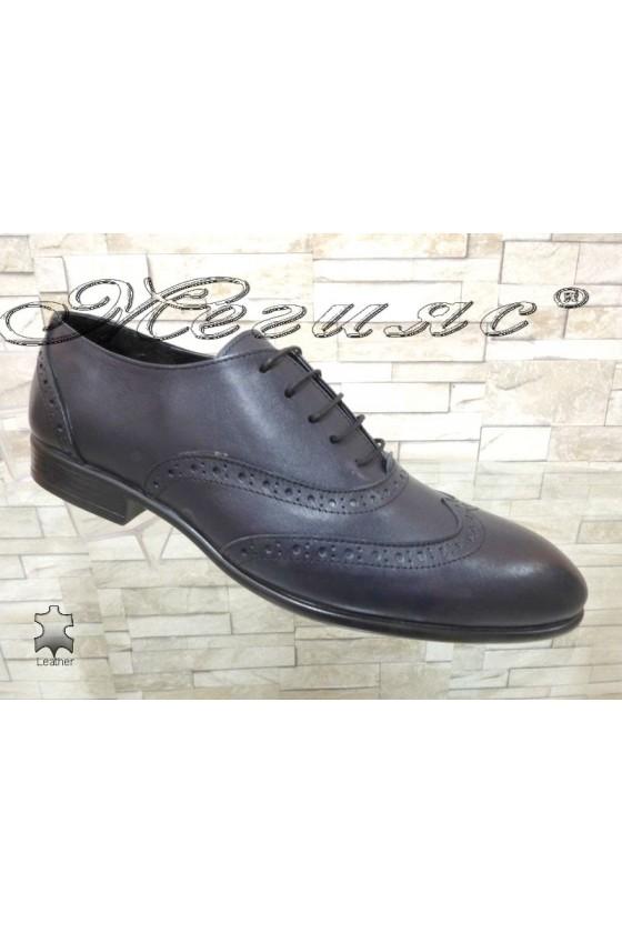 Men's elegant SHARP 854 blue leather
