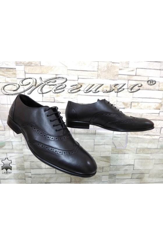 Мъжки обувки SHARP 854 тъмно черни елегантни от естествена кожа