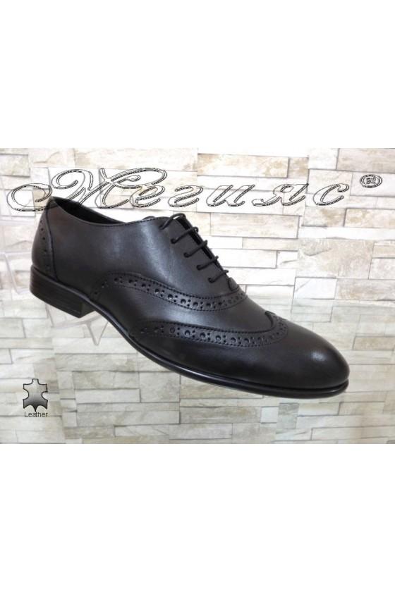 Мъжки обувки SHARP 854  черни елегантни от естествена кожа