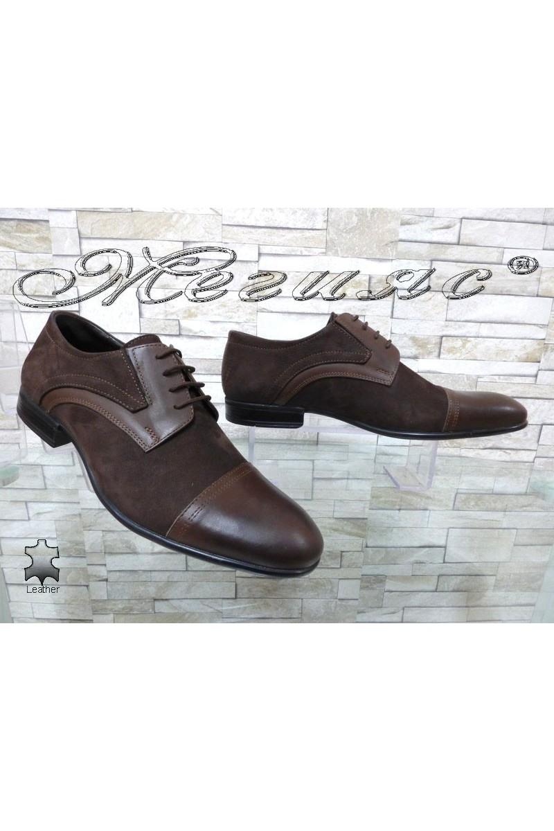 Мъжки обувки Фантазия 12200-0-2 кафяви естествена кожа с набук елегантни