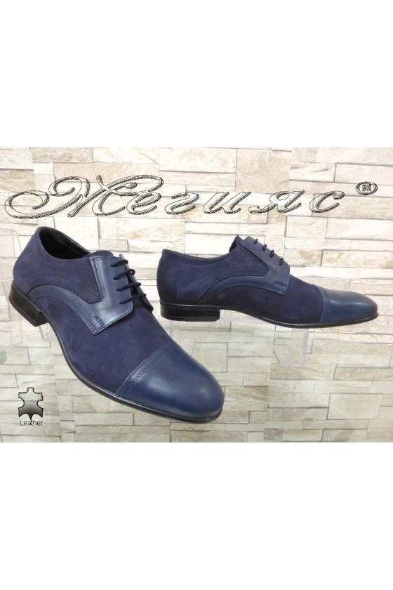 Мъжки обувки Фантазия 12200-0-2 сини естествена кожа с набук елегантни