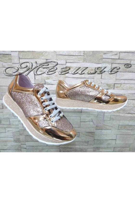 Lady sport shoes 389-119113 dark gold pu
