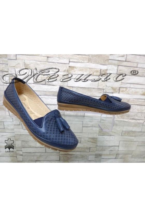 Дамски обувки 450 тъмно сини от естествена кожа ежедневни