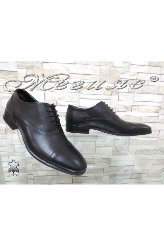 Men's elegant shoes 12302 black leather