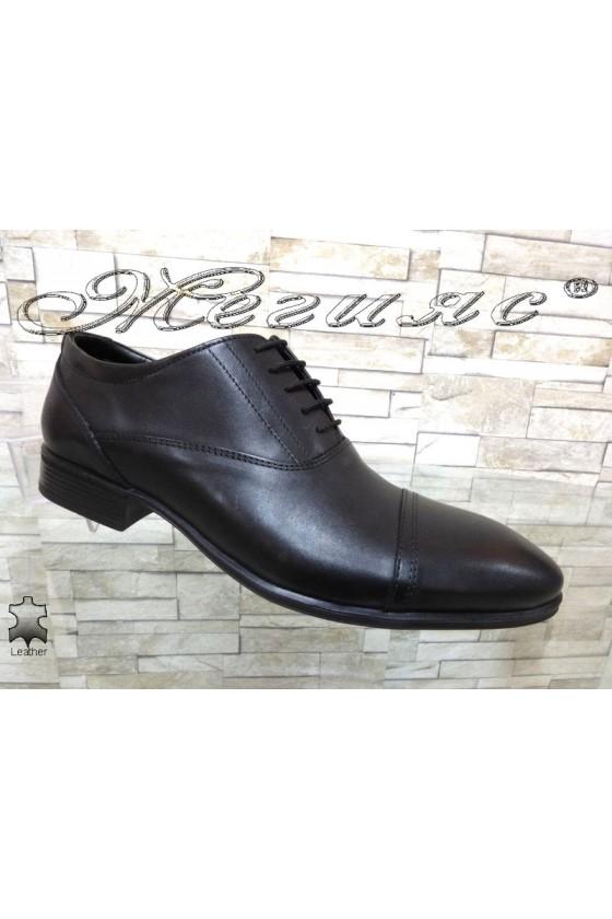 Мъжки обувки елегантни от естествена кожа черни Фантазия 12302